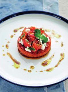 Salade van watermeloen met oregano-vinaigrette http://www.njam.tv/recepten/salade-van-watermeloen-met-oregano-vinaigrette