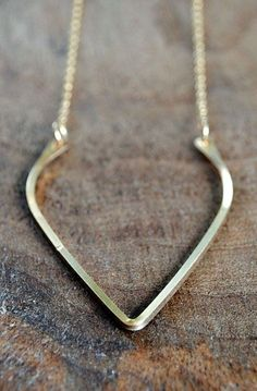 Gold Wishbone Necklace - 14K Yellow Gold