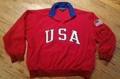 Polo Sport Ralph Lauren USA Flag Red Fleece Half-Zip Pullover ski Sweater Men XL #RalphLaurenPoloSport #12Zip