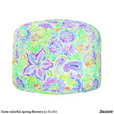 Cute colorful spring flowers Round pouf