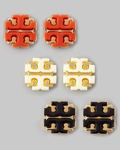 Enamel Double-T Stud Earrings, by Tory Burch at Neiman Marcus.