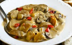 This thick stew is already delicious with just potatoes, but the mushrooms and bell peppers put it over the top!