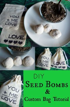 DIY Seed Bomb Tutorial & custom bag tutorial. EASY DIY recipe for garden lovers. These make great gifts for Valentine's Day, Earth Day, Mother's Day, and handmade gifts from the kids! Such a practical and creative unique gift to customize for anyone! You