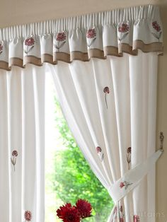This gorgeous curtain pelmet features a pretty red embroidered flower against a soft cream base. The design is finished off with a light brown lined border. Kitchen Window Valances, Bathroom Window Curtains, Kitchen Window Treatments, Bathroom Windows, Kitchen Curtains, Curtain Pelmet, Valance Curtains, Bathroom Ornaments, Simple House Plans