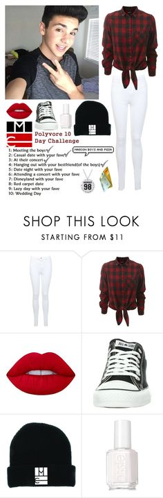 """Day 4!"" by be-robinson ❤ liked on Polyvore featuring Miss Selfridge, Lime Crime, Converse and Essie"