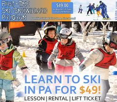 There's snow on the ground across the state and it's time to learn! With our $49 First Time Skier or Snowboarder package, we offer one of the easiest, most affordable and fun ways to learn anywhere. We give you all you need, at a price you'll love, at a PA resort nearest you.  Package Includes: • One Beginner Lift Ticket • One Beginner Group Lesson • Complete Rental Equipment • Valid at Participating Pennsylvania Ski Areas  https://skipa.com/deals/first-time-offer