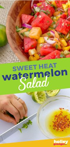 Packed with fresh summer produce, this Sweet Heat Watermelon Salad recipe is simple to make, feeds a crowd and pairs well with classic grilled recipes. Salads For A Crowd, Salad Recipes For Dinner, Food For A Crowd, Healthy Salad Recipes, Recipes For A Crowd, Watermelon Salad Recipes, Sweet Watermelon, Fruit Salad, Al Dente