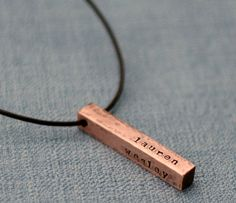 Hand Stamped Mens Necklace Rustic Copper Bar