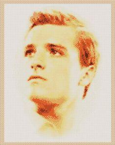 The Hunger Games Peeta Mellark (Josh Hutcherson) Portrait Cross Stitch Chart by 1Rainbowsparkle on Etsy