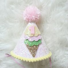 Glittery Ice Cream theme Birthday Party Hat First Birthday,  baby, Birthday, cake smash,  1st birthday, baby birthday,