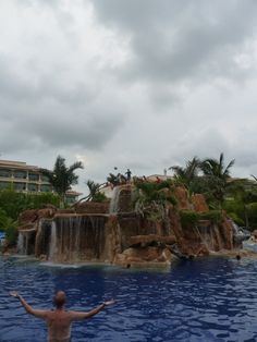BEST resort pool ever...super cliff jump in the middle of the pool! (Hotel Marina El Cid Resort and Spa....Riviera Maya, Mexico)