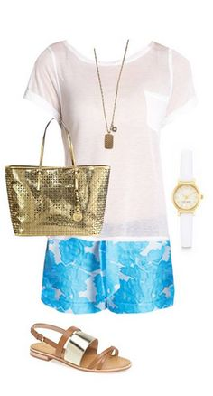 SUMMER WEEKENDS: PICNIC IN THE PARK - Be the envy of all your friends in these adorable floral shorts. Add gold accessories to enhance your look from casual to chic.   Find the Style Corner from app's front page and see style tips from Samantha Scragg!