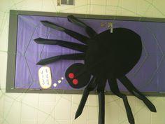 Classroom door decoration for Halloween (spider)