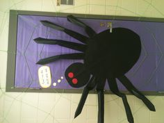 Classroom door decoration for Halloween (spider)