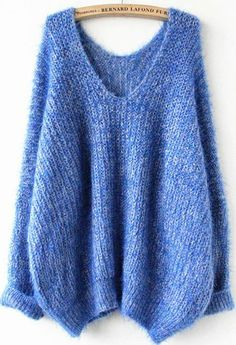 Royal Blue Oversize Mohair Sweater. Knit me this in a deep green and I'll be your bestie.