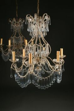 Pair of Antique Italian 6 arm iron and crystal chandeliers with blue crystals. #antique #chandelier #iron #crystal