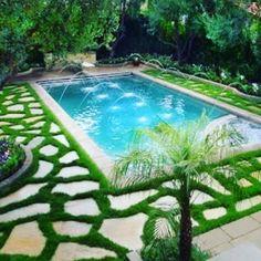 pool paving ideas #pooltiles #pooldesign #mondograss #housedesign by houseof_daintie Creative backyard pool designs.