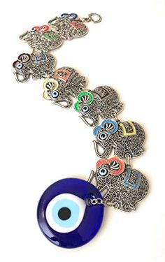 Bion Long Wall Decor for Yoga Studio (Colorful Elephant) Evil Eye Jewelry, Evil Eye Bracelet, Elephant Wall Decor, Elephant Size, Good Luck Gifts, Colorful Elephant, Evil Eye Charm, Plastic Jewelry, Hamsa Hand