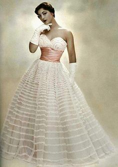 1953 ruffled lace evening gown by Pierre Balmain