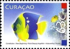 Stamp: Rock Beauty (Halocanthus triocolor) (Curaçao) (Constitution) Mi:CW 7,NVP:CW 7,WAD:CW005.11
