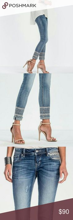 """Miss Me Boho Embroidered Ankle Medium Wash Jean NWT!   Flaunt your bohemian style in a pair of ankle skinny jeans with embroidery around the bottom with cuffed frayed hem and embroidered trim on front and back pockets, distressing, fading, whiskering, contrast stitching, classic 5-pocket design, and minimal hardware.   Front Rise: 7 ½""""; Back Rise: 12 ½"""" Inseam: 27"""" With Cuff     98% cotton, 2% elastin  Fit is true to size Miss Me Jeans Ankle & Cropped"""