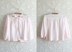 60s Baby Pink Nylon Chiffon Barbie Bed Jacket / by Liyasvintage, $18.00