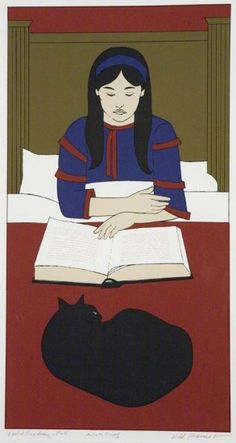 'Child Reading - Red' by Will Barnet (Color serigraph, 1970)