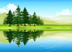 Free vector Free vector about free cartoon nature pictures Forest Scenery, Forest Landscape, Lake Forest, Background Clipart, Cartoon Background, Cliparts Free, Photoshop World, River Painting, Forest Background