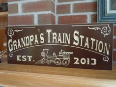 Family Electric Train Station Sign Personalized by TKWoodcrafts, $46.95