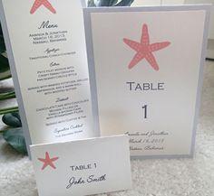 Beach table number, Destination wedding menu, Seaside wedding, Starfish menu, Coral Wedding, Silver Placecard. $1.00, via Etsy.