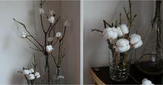 Detalles decorativos DIY con ramas y algodón