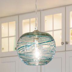 Swirling Glass Globe Mini Pendant Light