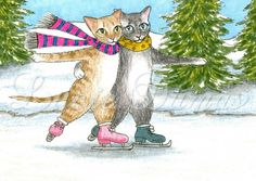 ACEO art print Cat 428 ice skating, painting by Lucie Dumas | ArtbyLucie - ACEO on ArtFire