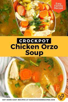 Slow Cooker Lemon Chicken, Creamy Lemon Chicken, Lemon Chicken Orzo Soup, Chicken Soup Recipes, Slow Cooker Recipes, Crockpot Recipes, Easy Family Meals, Soups, Cozy