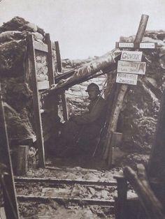 WWI, Bixschoote,1917; Listening post, Belgian trench