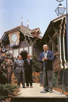 """doormousewhispers: """" Walt Disney ~ Opening Ceremony Of The Disneyland Skyway.. June 23,1956. """""""