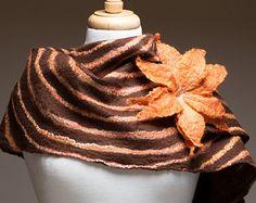 Sale 50% Off Felted Scarf, Merino wool, Silk, Felt, Soft and warm, Brown, Orange, natural fibres