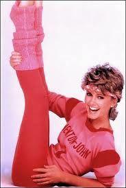 Olivia Newton John living the 80s to the fullest.
