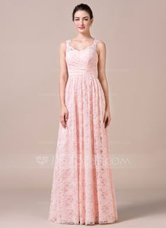 A-Line/Princess V-neck Floor-Length Ruffle Zipper Up Covered Button Regular Straps Sleeveless No Pearl Pink Spring Summer Fall General Plus Lace Bridesmaid Dress