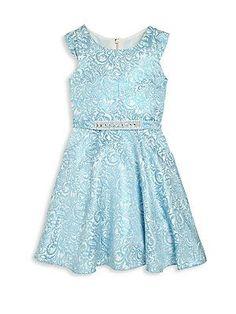 Zoe Girl's Damask Dress - Blue - Size