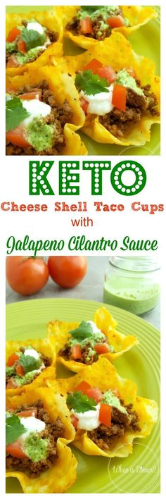 Keto Cheese Shell Taco Cups with Jalapeno Cilantro Sauce Keto Che. - Simple Keto Breakfast - Keto Cheese Shell Taco Cups with Jalap. Cheese Shell Taco, Keto Cheese, Sauce Recipes, Keto Recipes, Dinner Recipes, Healthy Recipes, Lunch Recipes, Pasta Recipes, Appetizer Recipes