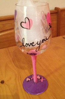 Painted Wine Glass design idea - Valentine's day