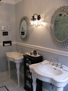 My DREAM bathroom!! Paint is Silver Strand by Behr