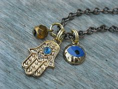 Hamsa Necklace, Hand of Fatima Necklace, Evil Eye Necklace, Blue Evil Eye, Charm Necklace, Gold Necklace,