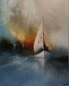 Abstract Ocean Painting, Abstract Painting Techniques, Sailboat Art, Sailboat Painting, Watercolor Paintings Of Animals, Watercolor Art, Plaster Art, Landscape Artwork, Impressionism Art