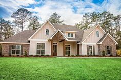 Plan Gorgeous Craftsman House Plan with Bonus Over Garage - This beautiful 4 bedroom, Craftsman style home plan offers great curb appeal. The main living space - New House Plans, Dream House Plans, Small House Plans, Bedroom House Plans, House Floor Plans, Craftsman Exterior, Craftsman Style House Plans, Farmhouse Plans, Farmhouse Style