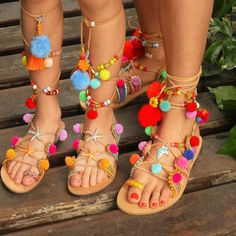 Handmade greek lace up gladiator sandals decorated with soutache in various colors .rhinestone cupchains ,colorful pom poms, semiprecious stones , tassels. glass beads and charms. These pair of sandals is very exotic and colorful, great for these days when its just you and the sun and