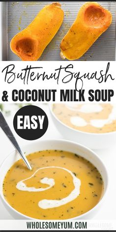 Creamy Low Carb Paleo Butternut Squash Soup Recipe with Coconut Milk - This paleo butternut squash soup recipe is so comforting for fall and winter! Creamy low carb butternut squash soup with coconut milk is dairy-free, nut-free and super easy to make. #wholesomeyum #keto #lowcarb #souprecipe #ketosoup