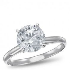 14K White Gold, Diamond Solitaire Engagement Ring, 2.00 ctw
