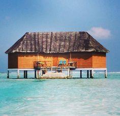 Honeymoon water bungalow on Meeru Maldives